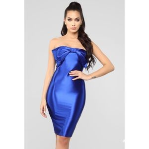 Fashion Nova Royal Blue Bow Tube Midi Dress NWT
